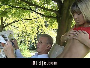 nasty blonde seduces elderly dude to plumb