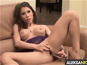 gassy Alexa Nicole torments her dripping pantie pot