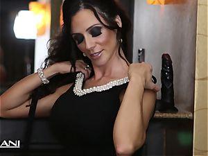Ariella Ferrara sticks a ginormous dark-hued fuck stick in her cooch