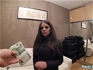 Public Agent splendid timid Russian babe plowed by a stranger