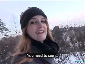Public Agent tatted ginger Irina Vega earns cash