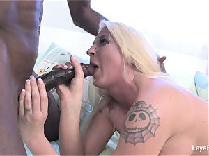 hard-core superslut Leya takes on a phat black trouser snake