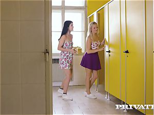 Private.com - lesbo three-way in the rest room