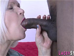 grandmother deepthroats big black cock