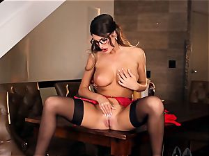 August Ames handsome getting off in glasses
