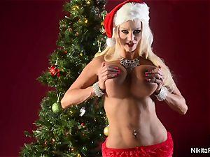 Holiday tease and finger masturbation from Nikita