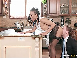 steaming ebony maid almost get caught