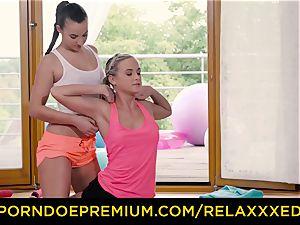 RELAXXXED all girl Amirah Adara pulverized on yoga class