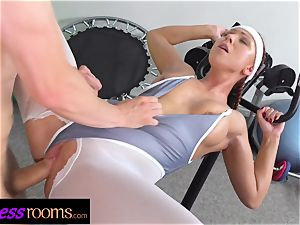 fitness rooms Morgan Rodriguez torn stockings