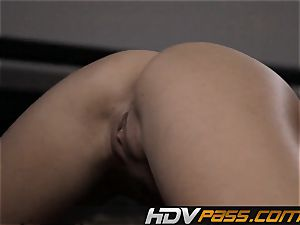 two girl-on-girl brown-haired Chanel Preston and Anne Marie Rio 69