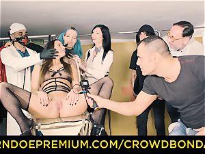 CROWD bondage subjugated Amirah Adara first-ever time bondage & discipline