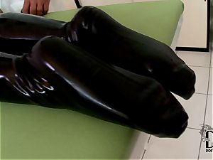 tough blonde in latex dildoed by the medic