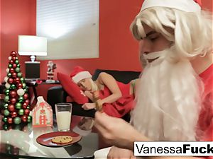 Vanessa letting Santa pummel her tight moist honeypot