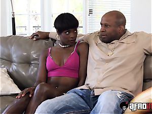 ebony nanny puts in some additional work for her manager