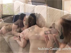 pornography audition leaves nubile knockers running in rivulets with cum
