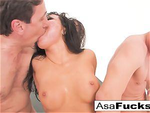 Asa Akira has a steaming rectal three way