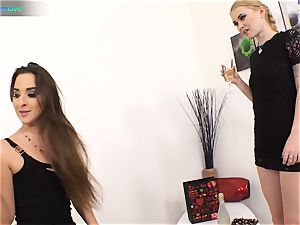 excellent ultra-cutie Amirah Adara and inked female Misha Cross plays with their fuck sticks