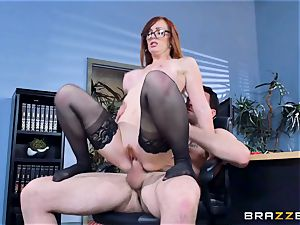Dani Jensen playing with penis in the office
