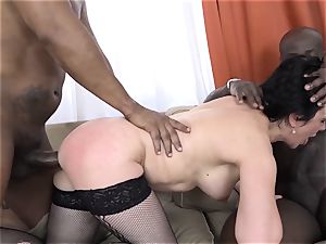 grandmother three ways with two dark-hued boys nail dicks in mouth