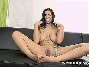 buxom Elena Rae pees thru her stocking