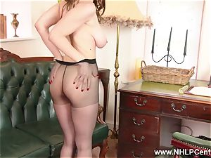 babe ginormous natural udders screws massive fucktoy in nylon tights