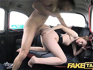 faux cab slim redhead enjoys harsh hook-up
