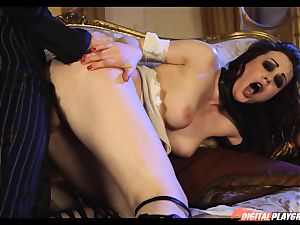 Tina kay has meaty stream on her gorgeous super-cute face from frankenstein