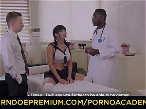 porn ACADEMIE Silicone buxom schoolgirl anal invasion trio