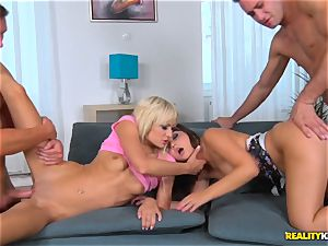 Driving hard-on deep into Anina Silk and Lola glisten