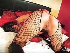 Dolled up Charley haunt plays with her twat