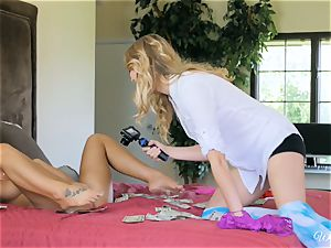 August Ames and Kenna James getting jiggly on cam