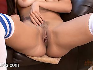 Danica James grinds Her love button on a toy