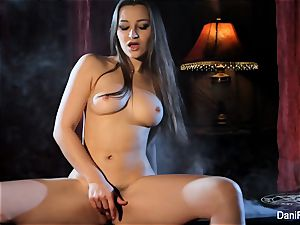Smoking sizzling solo sequence with brunette stunner Dani Daniels