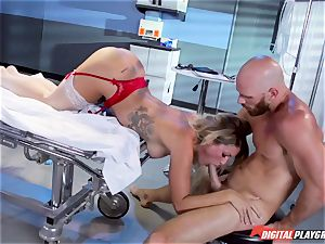 accomplished physician plumbs trampy busty nurse Kissa Sins on a health center sofa