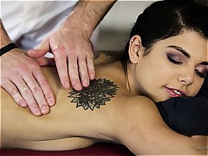 small Gina Valentina gets lubed up and caressed
