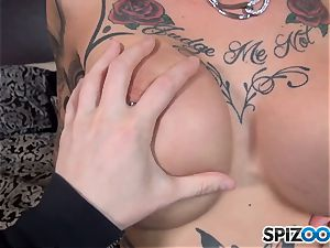 Anna Bell Peaks licks on yam-sized meatpipe and gets a jism stream on her hooters
