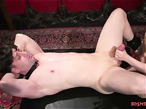 big-boobed blondie domina Gives Her sub a jack