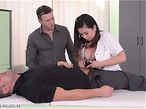 obese asian nurse with huge innate mammories threeway