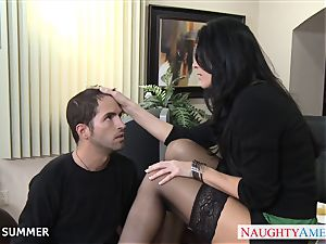 Stockinged India Summer tearing up on the desk