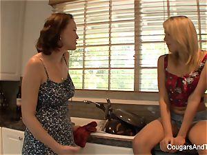 dark-haired mummy tempts her super-steamy ash-blonde stepdaughter