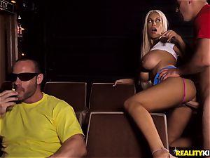 Cinema manhood blowing big-boobed Bridgette B