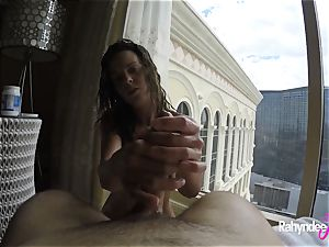 Rahyndee pleasing cock in Las Vegas motel point of view
