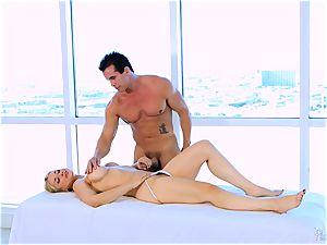 Roasting super hot ash-blonde Sarah Vandella likes to hooter pound