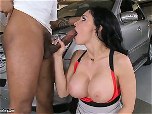 gorgeous Aletta Ocean plays with a dark-hued bone in her slimy red-hot throat