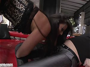 wonderful hoe in stocking deep throats three lollipops and takes them in her holes