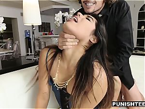 young Latina assistant punished by her rich chief