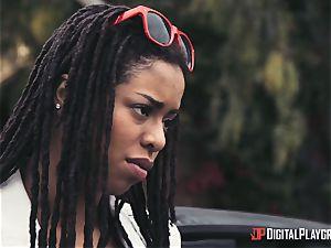 Outdoor multiracial poon enjoy with Kira Noir and Jessa Rhodes