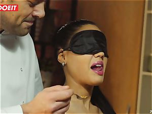 Latina Apolonia Lapiedra four-way hook-up in the kitchen